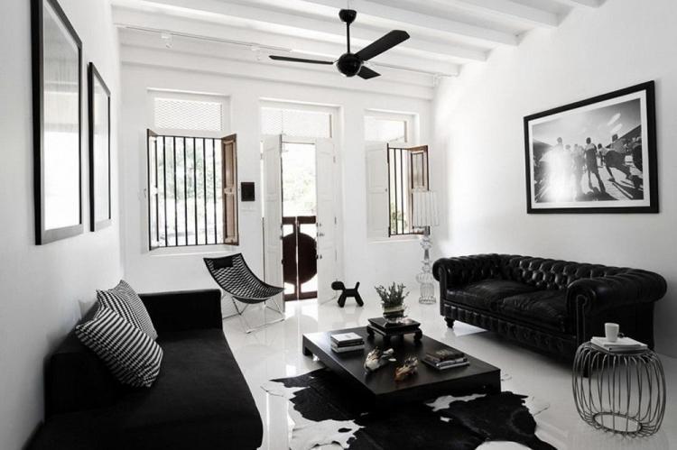 Черно-белая гостиная 16 кв.м. - Дизайн интерьера