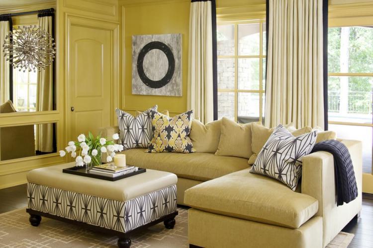 Желтая гостиная 16 кв.м. - Дизайн интерьера
