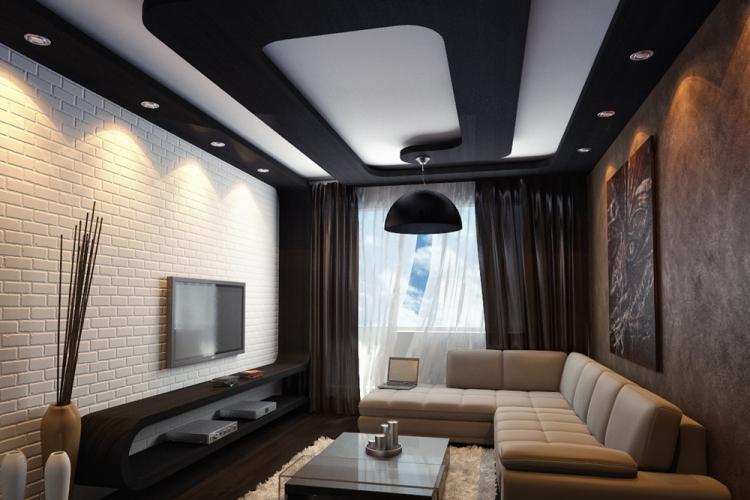 Отделка потолка - Дизайн гостиной 16 кв.м.