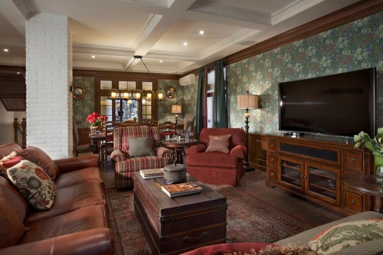 Гостиная 17 кв.м. в английском стиле - Дизайн интерьера