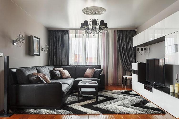 Черная гостиная 17 кв.м. - Дизайн интерьера