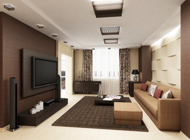 Коричневая гостиная 17 кв.м. - Дизайн интерьера