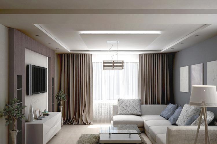 Отделка потолка - Дизайн гостиной 17 кв.м.