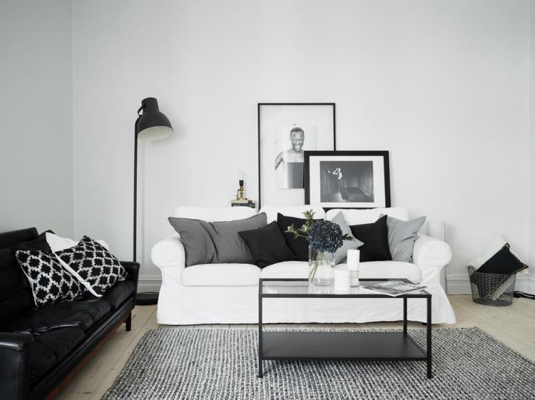 Черно-белая гостиная 18 кв.м. - Дизайн интерьера