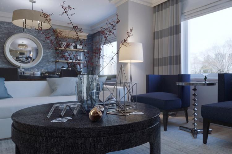 Синяя гостиная 18 кв.м. - Дизайн интерьера