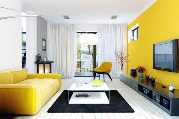 Желтая гостиная 18 кв.м. - Дизайн интерьера