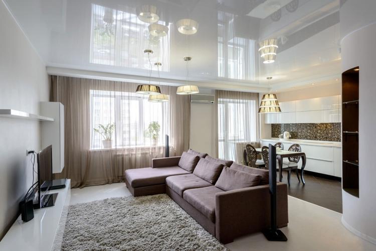 Отделка потолка - Дизайн гостиной 18 кв.м.