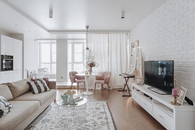 Белая гостиная - Дизайн интерьера 2019