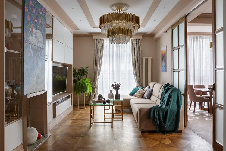 Бежевая гостиная - Дизайн интерьера 2019
