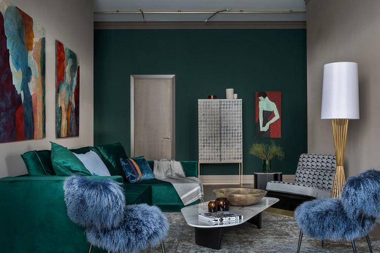 Зеленая гостиная - Дизайн интерьера 2019
