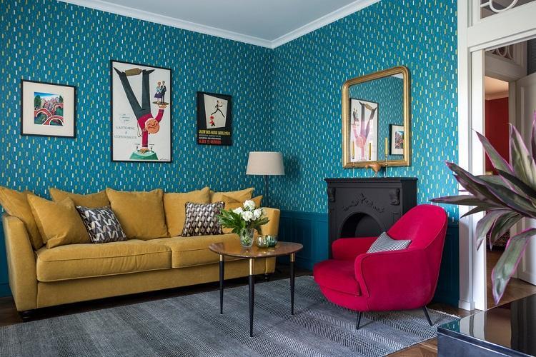 Синяя гостиная - Дизайн интерьера 2019