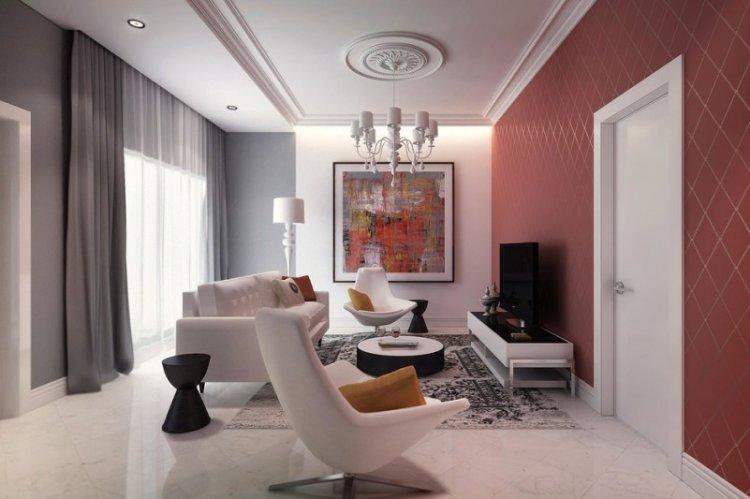 Красная гостиная в классическом стиле - Дизайн интерьера
