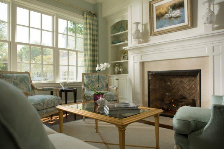 Зеленая гостиная в классическом стиле - Дизайн интерьера