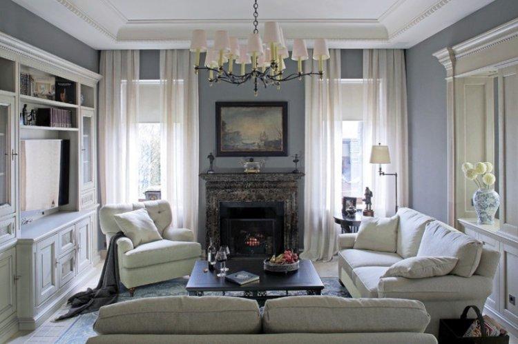 Шторы и текстиль - Дизайн гостиной в классическом стиле