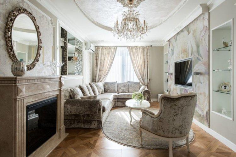 Отделка пола - Дизайн гостиной в классическом стиле