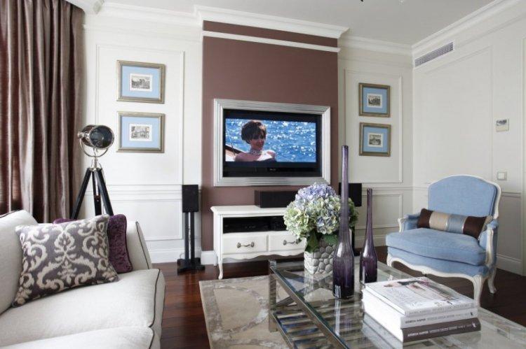 Отделка стен - Дизайн гостиной в классическом стиле