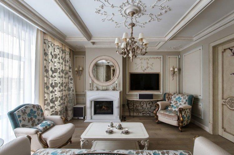 Отделка потолка - Дизайн гостиной в классическом стиле