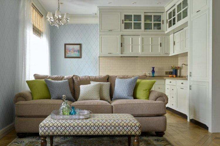 Дизайн кухни-гостиной в классическом стиле