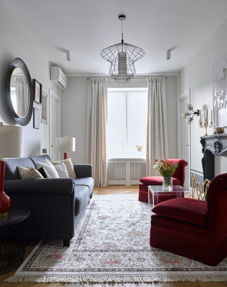 Узкая гостиная в классическом стиле - Дизайн интерьера