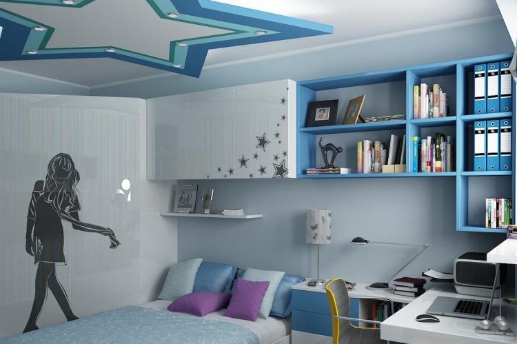 Отделка потолка - Дизайн комнаты для девочки-подростка
