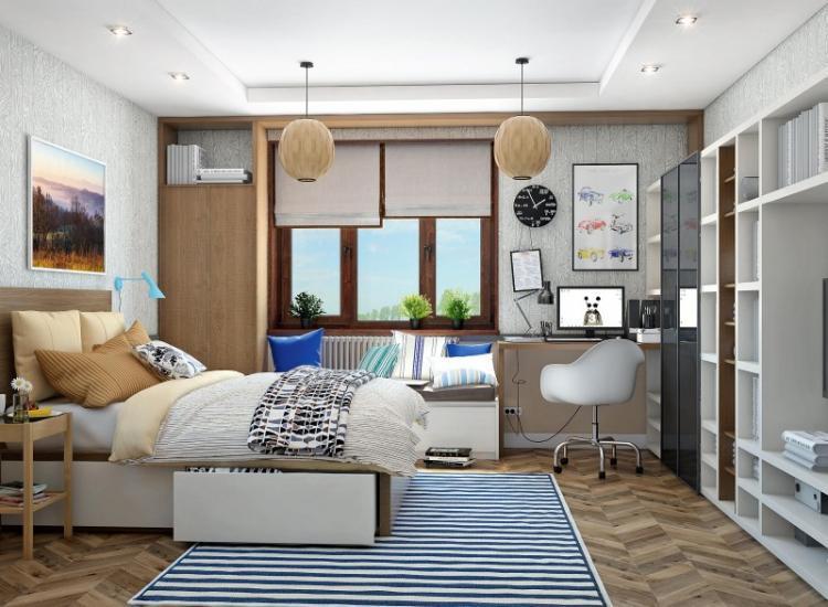 Отделка потолка - Дизайн комнаты для мальчика-подростка