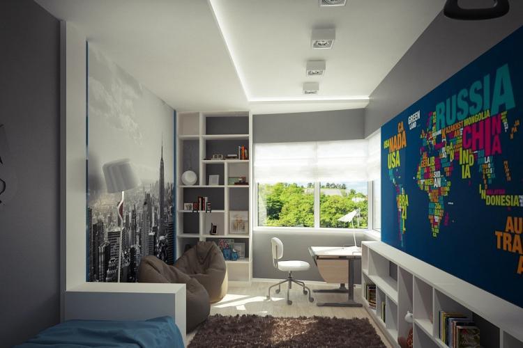 Отделка потолка - Дизайн комнаты для подростка