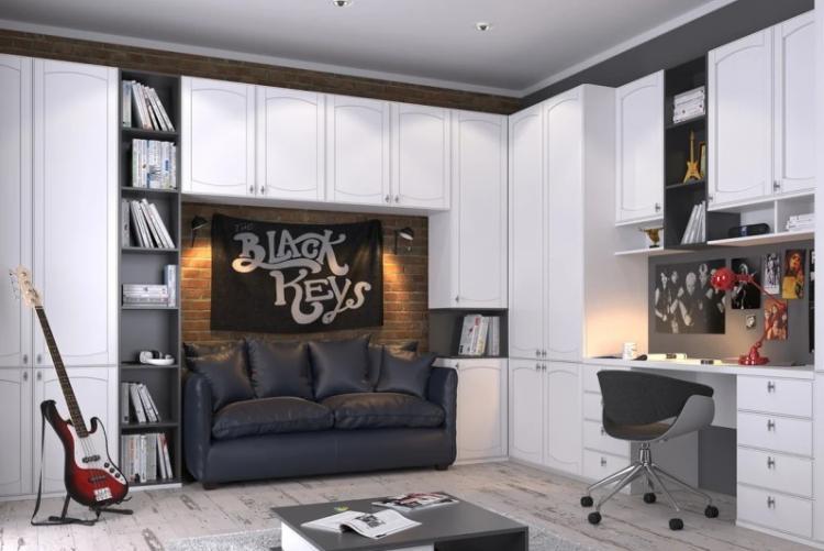 Черно-белая комната для подростка - Дизайн интерьера