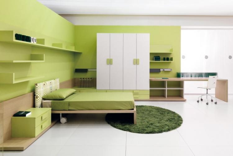 Зеленая комната для подростка - Дизайн интерьера