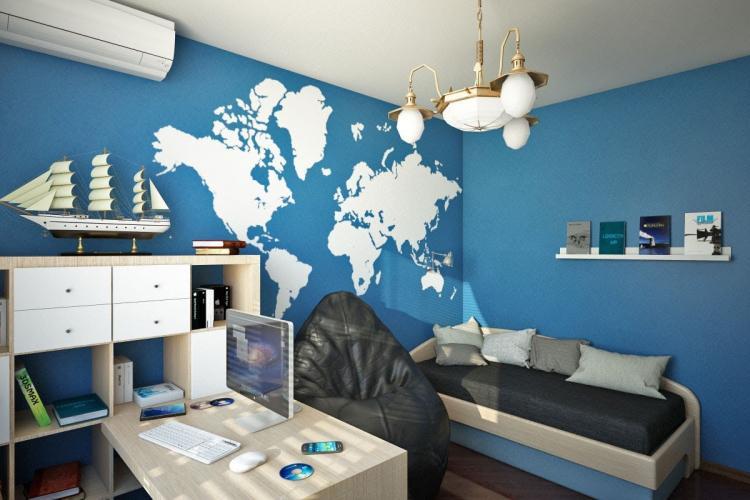 Синяя комната для подростка - Дизайн интерьера