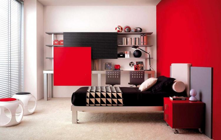 Яркие акценты в комнате для подростка - Дизайн интерьера
