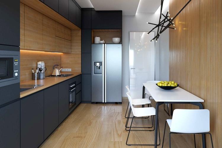 Черная кухня 10 кв.м. - Дизайн интерьера