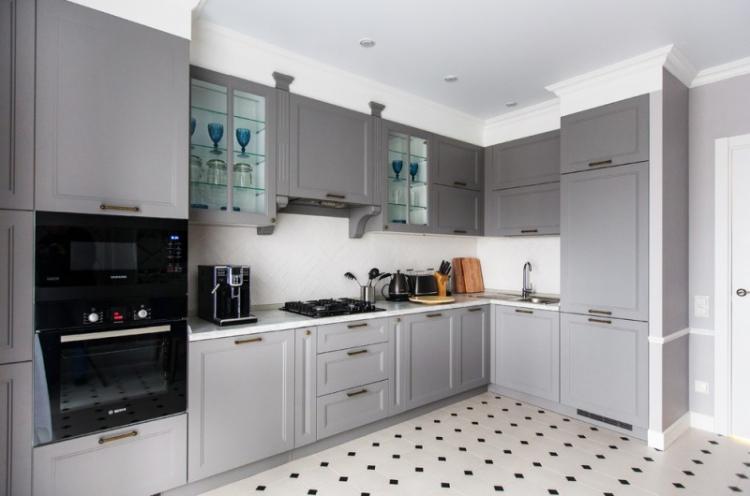 Отделка пола - Дизайн кухни 13 кв.м.