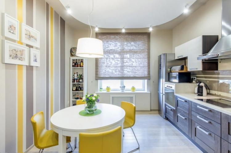 Отделка потолка - Дизайн кухни 13 кв.м.