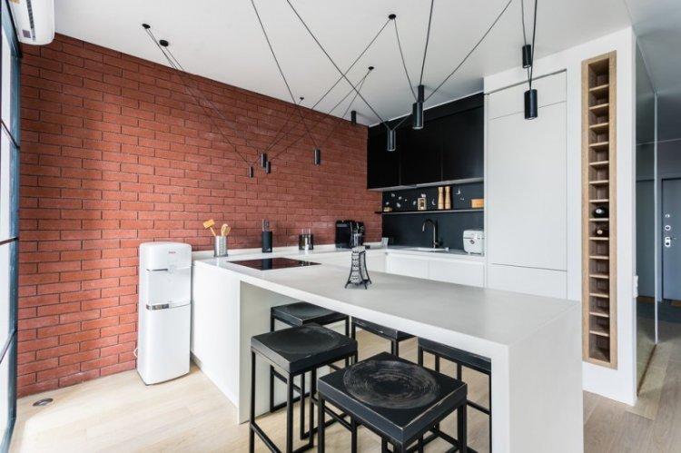 Кухня 14 кв.м. в стиле лофт - Дизайн интерьера