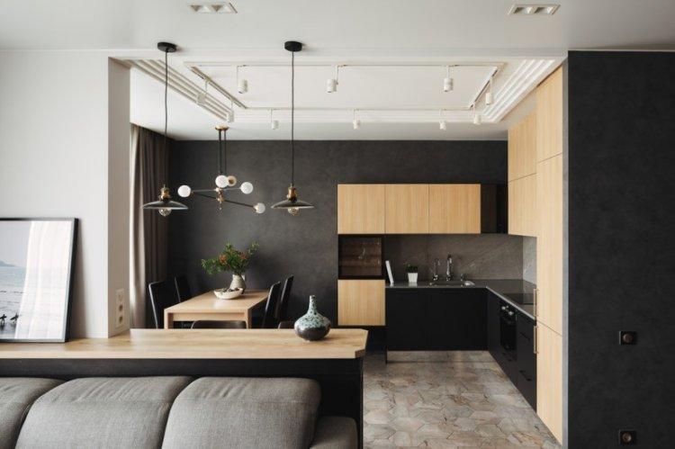 Черная кухня 14 кв.м. - Дизайн интерьера