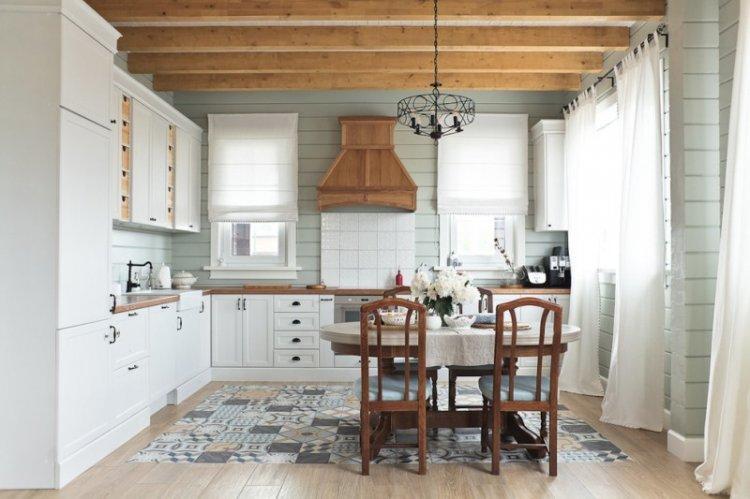 Отделка пола - Дизайн кухни 14 кв.м.