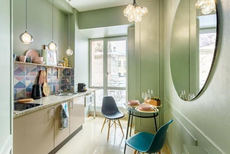 Зеленая кухня 3 на 4 - Дизайн интерьера