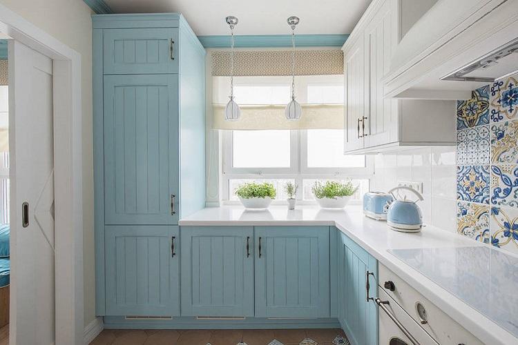Кухня 6 кв.м. в морском стиле - Дизайн интерьера