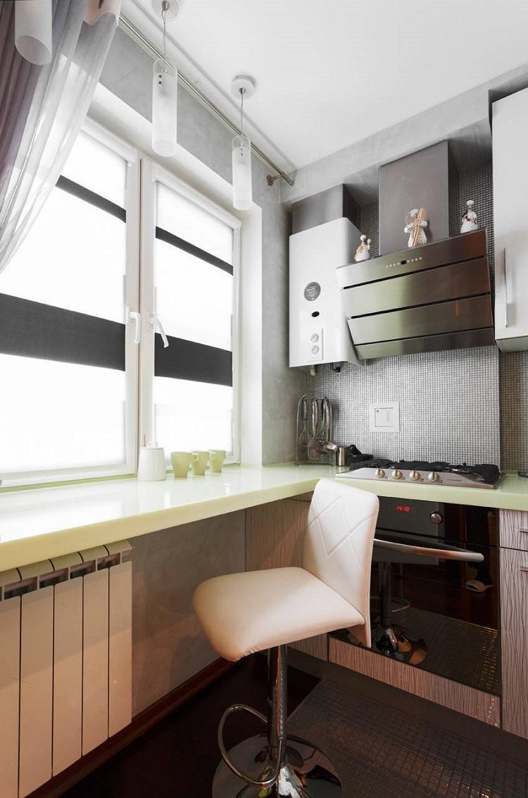 Функциональный подоконник - Дизайн кухни 6 кв.м.