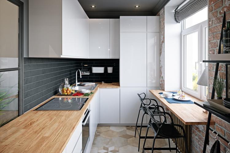 Кухня 7 кв.м. в стиле минимализм - Дизайн интерьера