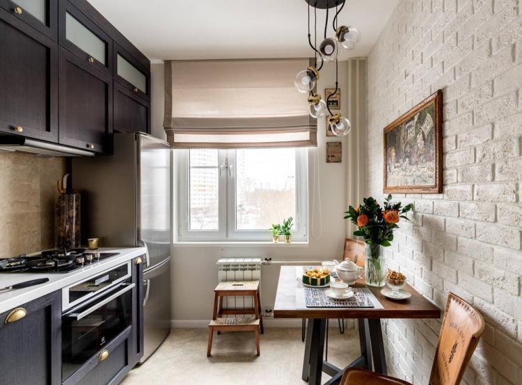 Кухня 7 кв.м. в стиле гранж - Дизайн интерьера