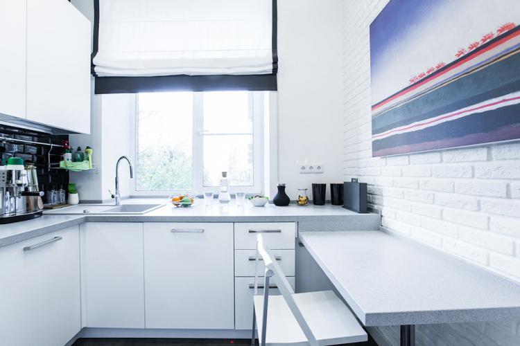 Белая кухня 7 кв.м. - Дизайн интерьера