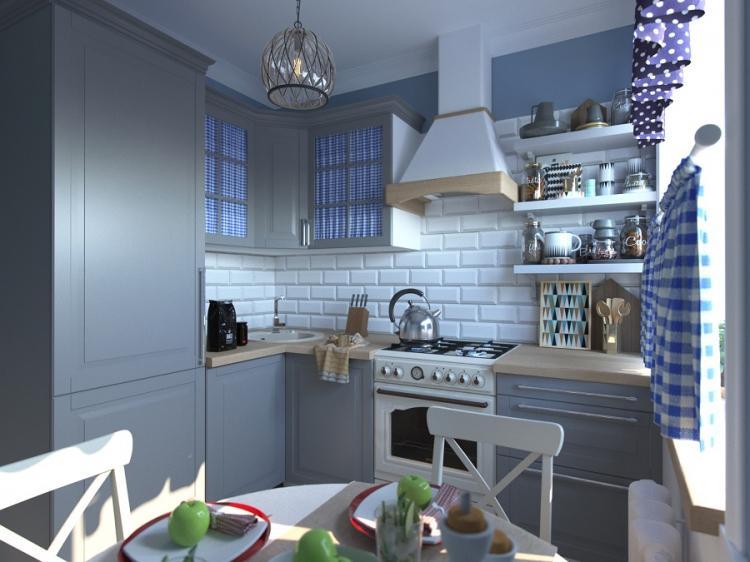 Серая кухня 7 кв.м. - Дизайн интерьера