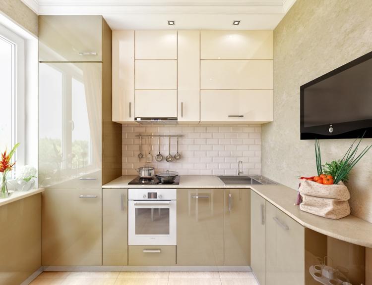Бежевая кухня 7 кв.м. - Дизайн интерьера