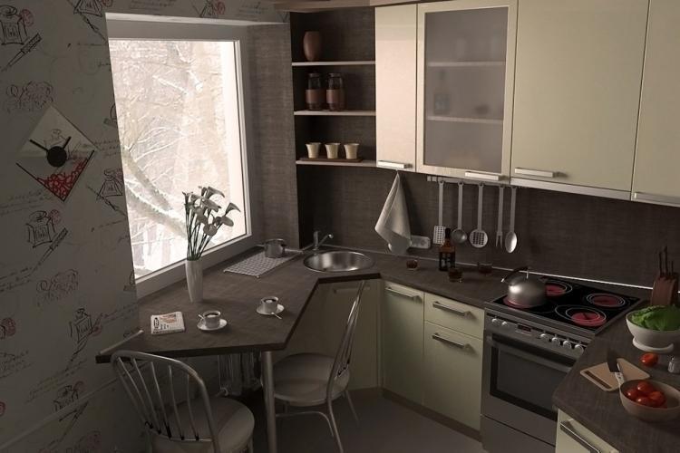Коричневая кухня 7 кв.м. - Дизайн интерьера