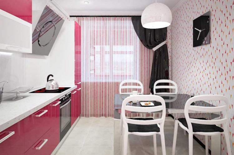 Розовая кухня 7 кв.м. - Дизайн интерьера