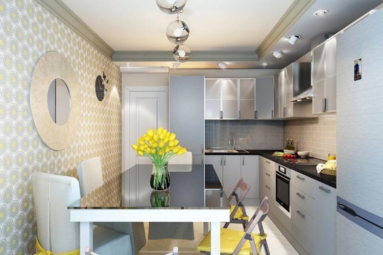 Отделка потолка - Дизайн кухни 7 кв.м.