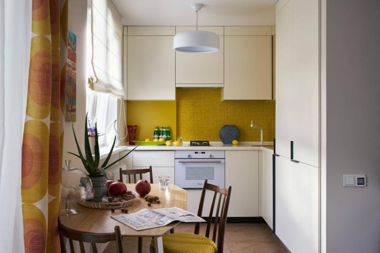 Желтая кухня 8 кв.м. - Дизайн интерьера