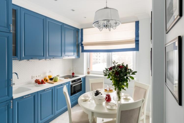 Синяя кухня 8 кв.м. - Дизайн интерьера