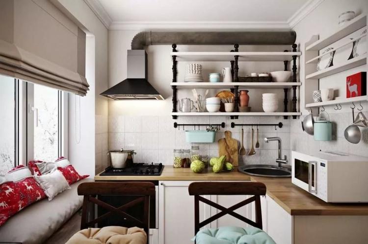 Текстиль - Дизайн кухни 8 кв.м.
